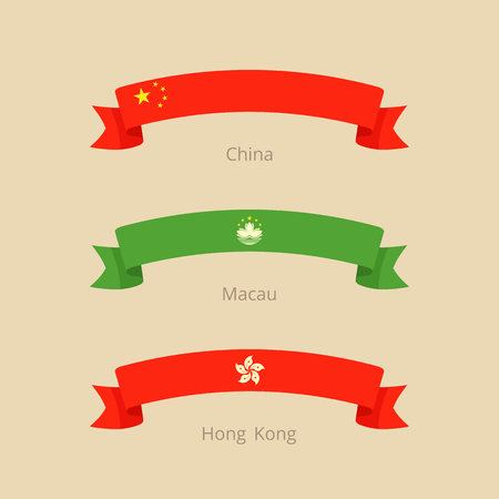 Ribbon with flag of China, Macau and Hong Kong in flat design style.