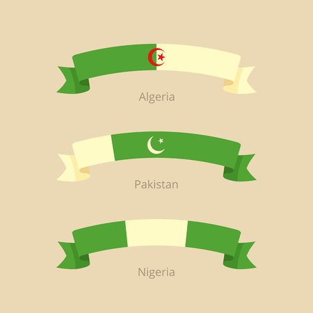 Ribbon with flag of Algeria, Pakistan and Nigeria in flat design style.