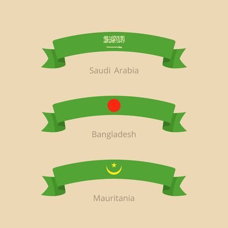 Ribbon with flag of Saudi Arabia, Bangladesh and Mauritania in flat design style.