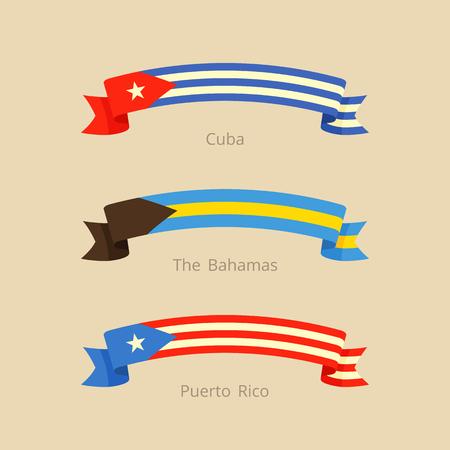 フラットなデザイン スタイルでキューバ、バハマ、プエルトリコの旗のリボンします。