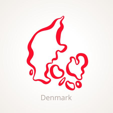 빨간색 라인으로 표시된 덴마크의 개요지도입니다.