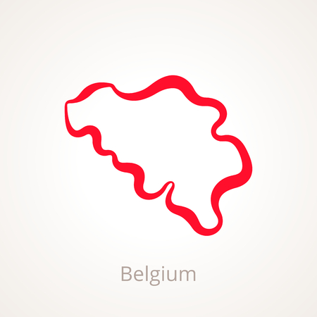 Outline map of Belgium marked with red line.
