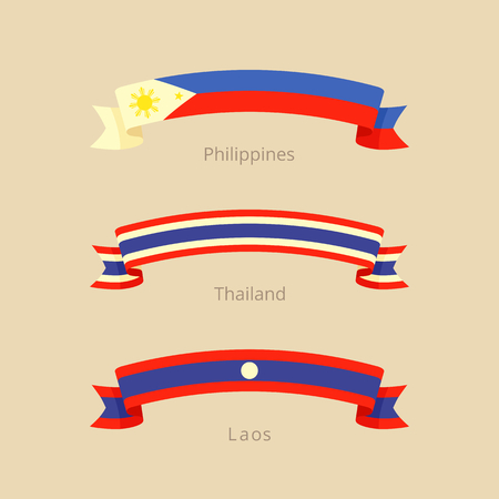 Ribbon with flag of Philippines, Thailand and Laos in flat design style. Illustration