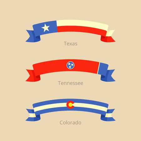 Ribbon with flag of Texas, Tennessee and Colorado in flat design style.