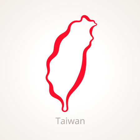 Outline map of Taiwan marked with red line. Çizim
