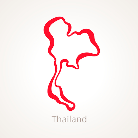 Outline map of Thailand marked with red line.