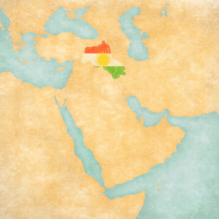 Kurdistan (Kurdish flag) on the map of Middle East (Western Asia) in soft grunge and vintage style, like old paper with watercolor painting. Stok Fotoğraf