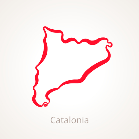 Outline map of Catalonia marked with red line.