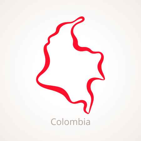 Outline map of Colombia marked with red line. Illustration
