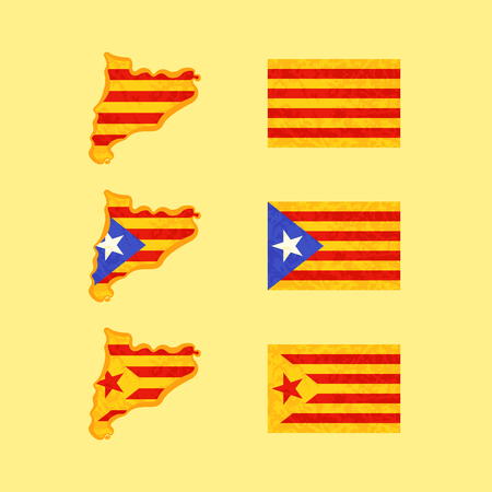Map and flags of Catalonia. Flags with light grunge dirty effect.