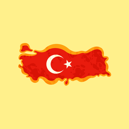 Map of Turkey colored with Turkish flag and marked with golden line in grunge vintage style.