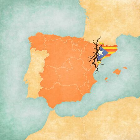 Map of Spain and Catalonia with black crack. Illustration for a independence of Catalonia Stok Fotoğraf
