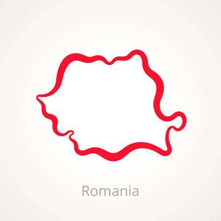 Outline map of Romania marked with red line. 版權商用圖片 - 90095340