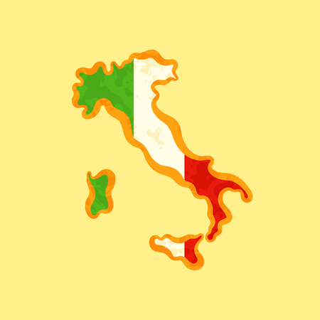 Map of Italy colored with Italian flag and marked with golden line in grunge vintage style.