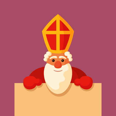 Saint Nicholas holding blank board with empty space for text.