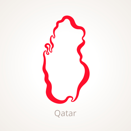 Outline map of Qatar marked with red line. Stock Vector - 92758192