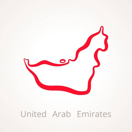 Outline map of United Arab Emirates marked with red line. Illustration
