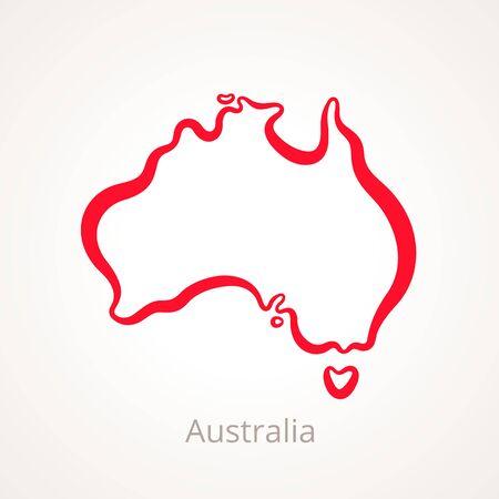 赤い線でマークされたオーストラリアのアウトライン マップ。