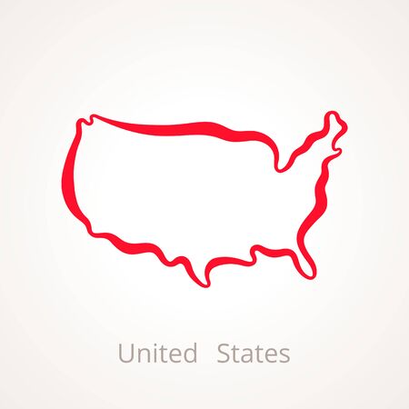 Outline map of United States marked with red line. Illustration