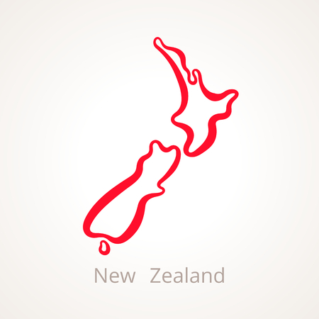 Outline map of New Zealand marked with red line.