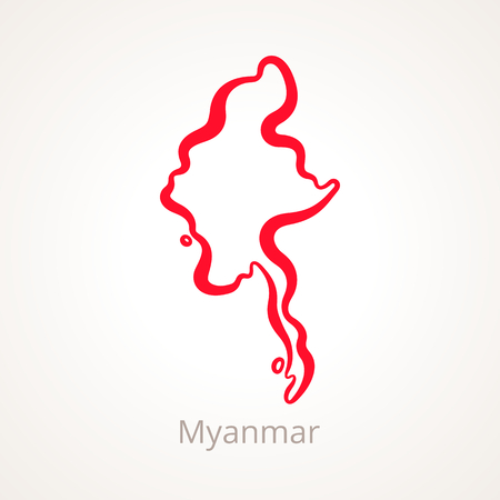 Outline map of Myanmar marked with red line.