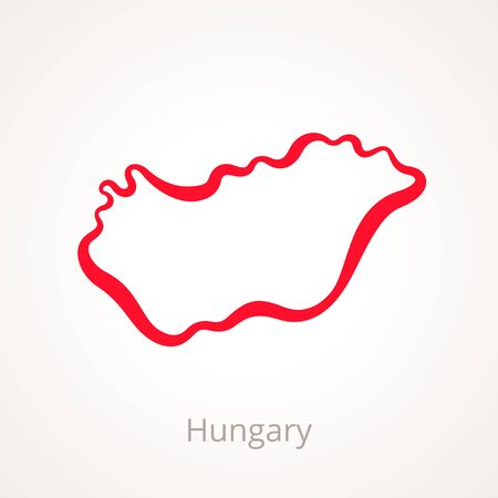 Outline map of Hungary marked with red line. Illustration