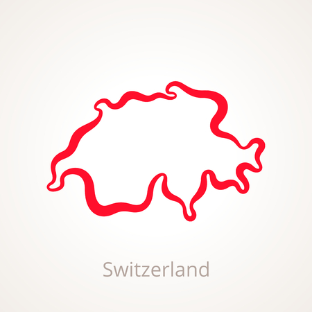 Outline map of Switzerland marked with red line.