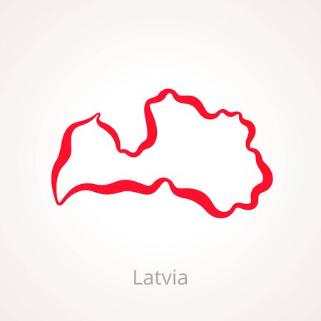 Outline map of Latvia marked with red line illustration.