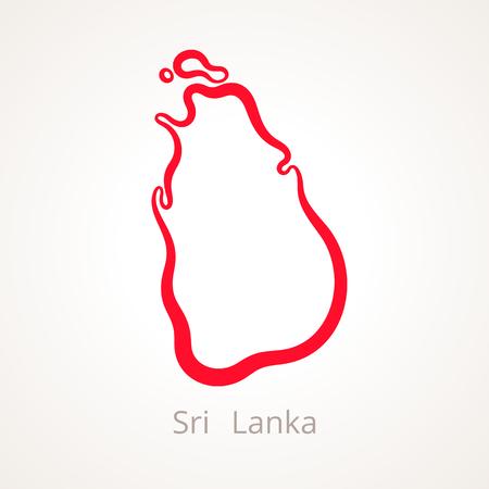 Outline map of Sri Lanka marked with red line illustration.