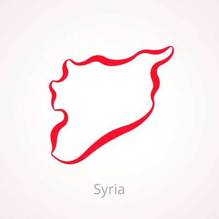 Outline map of Syria marked with red line illustration. Illustration