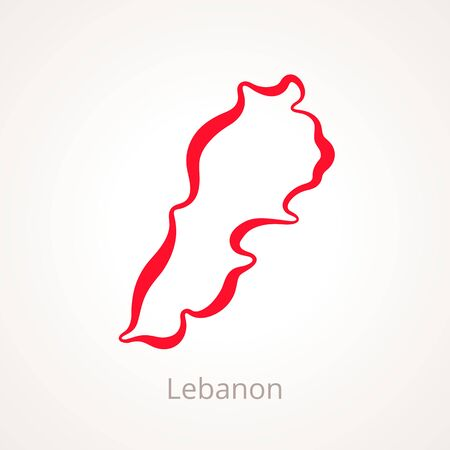 Outline map of Lebanon marked with red line. Ilustração