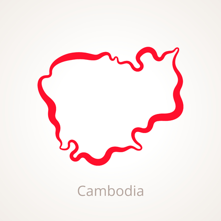 Outline map of Cambodia marked with red line.