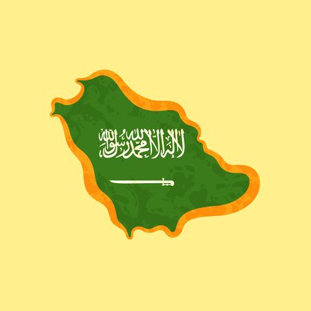 Map of Saudi Arabia colored with Saudi Arabian flag and marked with golden line in grunge vintage style.