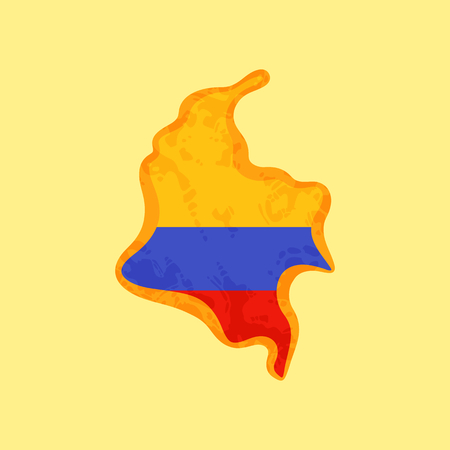 Map of Colombia colored with Colombian flag and marked with golden line in grunge vintage style.  イラスト・ベクター素材