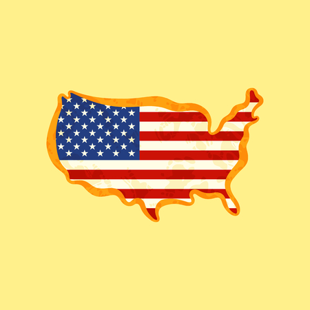 Map of United States colored with US flag and marked with golden line in grunge vintage style.