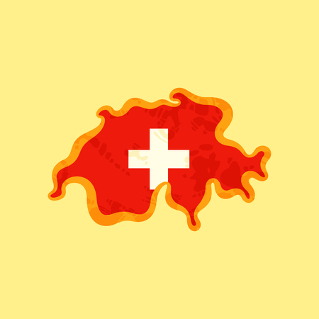 Map of Switzerland colored with Swiss flag and marked with golden line in grunge vintage style. Banque d'images - 98597444