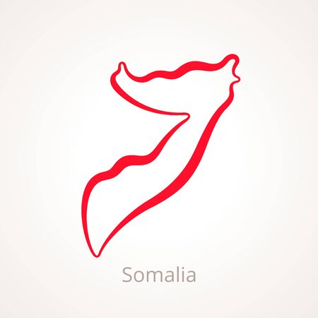 Outline map of Somalia marked with red line.