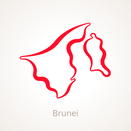 Outline map of Brunei marked with red line.