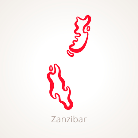 Outline map of Zanzibar marked with red line. Illustration