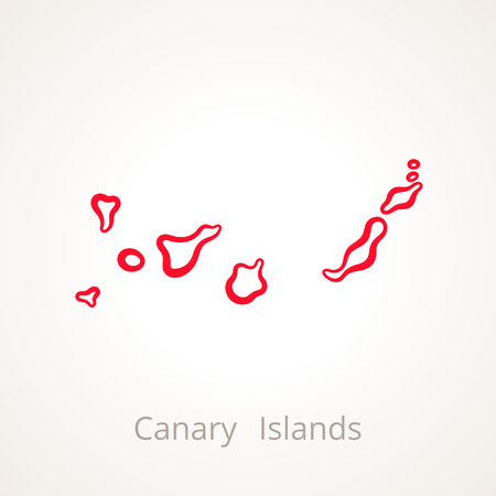 Outline map of Canary Islands marked with red line. Ilustração