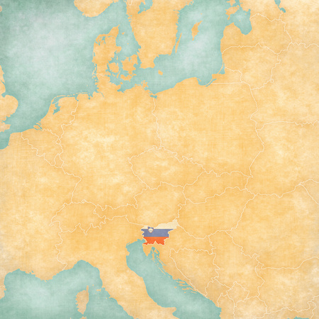 Slovenia (Slovenian flag) on ??the map of Central Europe in soft grunge and vintage style, like old paper with watercolor painting.