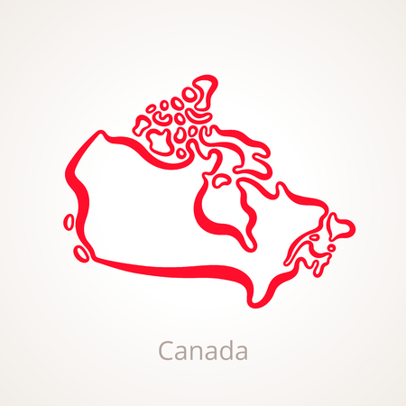 Outline map of Canada marked with red line.