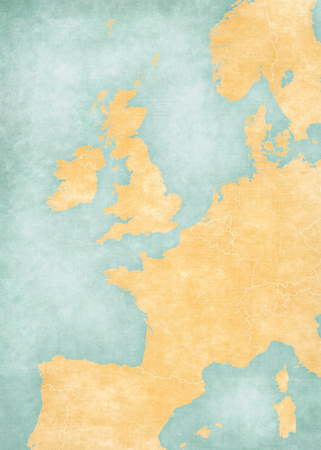 Blank map of Western Europe with country borders in soft grunge and vintage style, like old paper with watercolor painting. Banco de Imagens