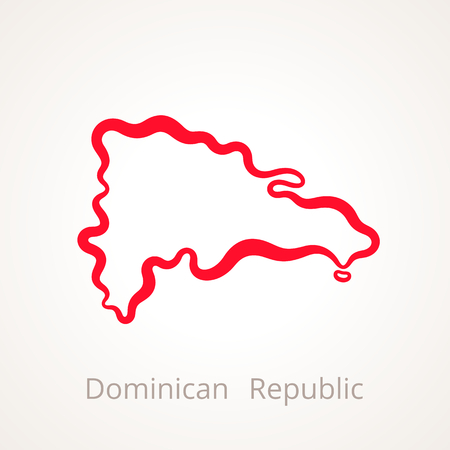 Outline map of Dominican Republic marked with red line. Ilustração
