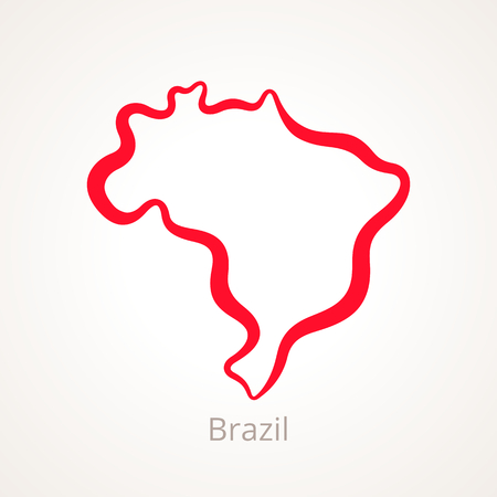 Outline map of Brazil marked with red line.
