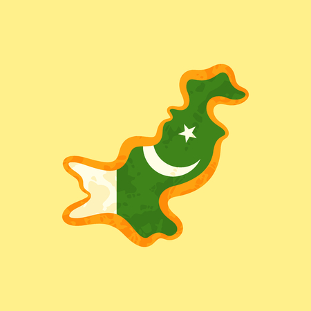 Map of Pakistan colored with Pakistani flag and marked with golden line in grunge vintage style.