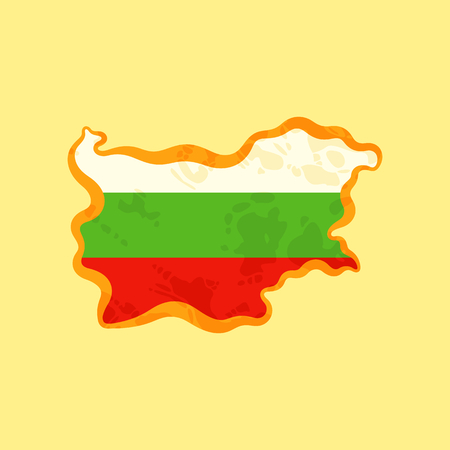 Map of Bulgaria colored with Bulgarian flag and marked with golden line in grunge vintage style.