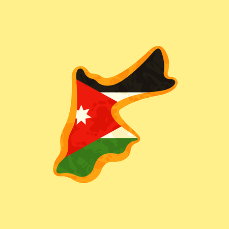 Map of Jordan colored with Jordanian flag and marked with golden line in grunge vintage style. Stock Illustratie
