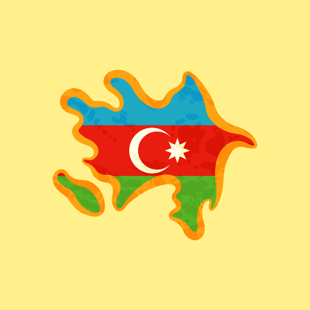 Map of Azerbaijan colored with Azerbaijani flag and marked with golden line in grunge vintage style. Illustration