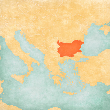 Bulgaria on the map of Balkans in soft grunge and vintage style, like old paper with watercolor painting.
